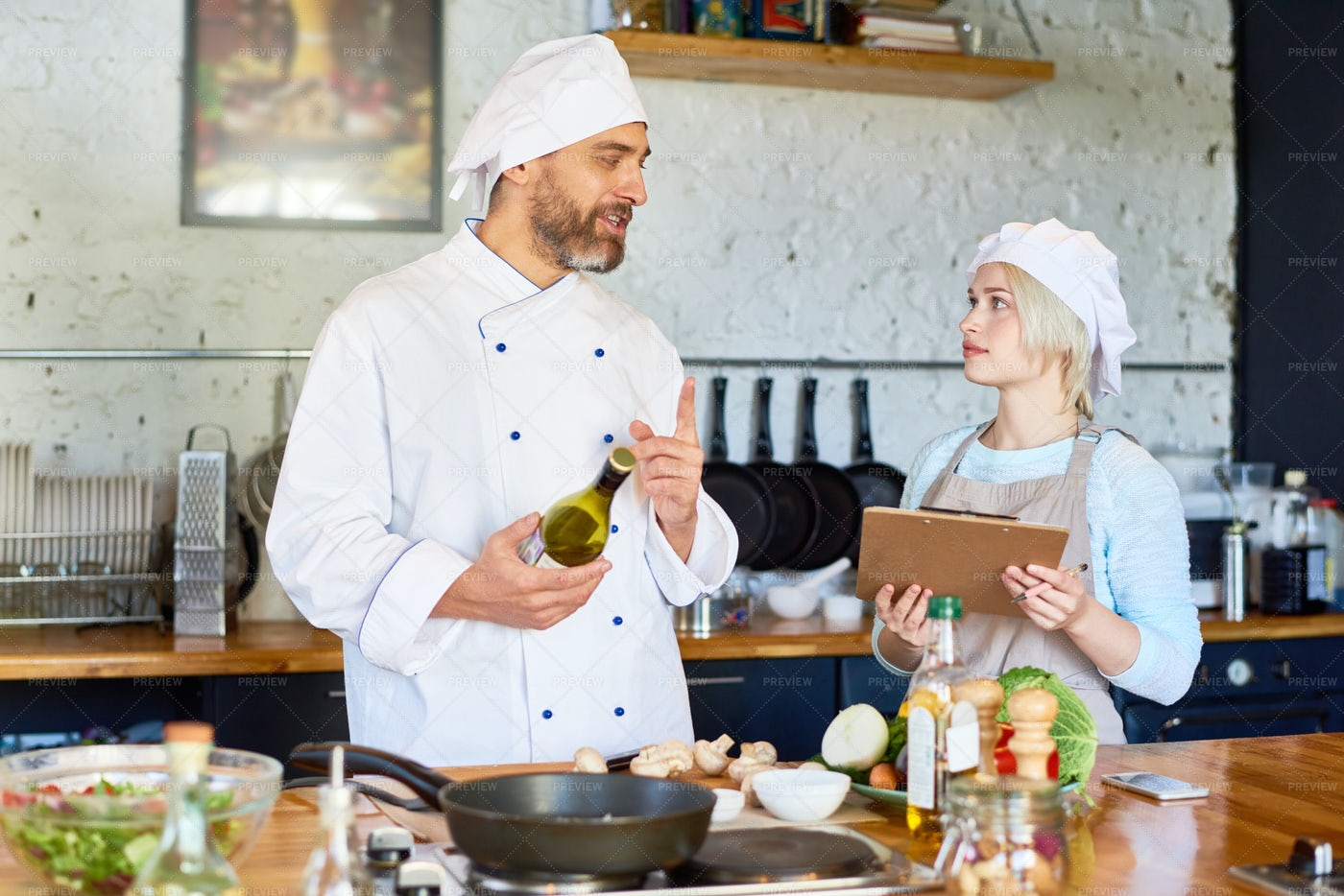 Participating In Cooking Workshop: Stock Photos