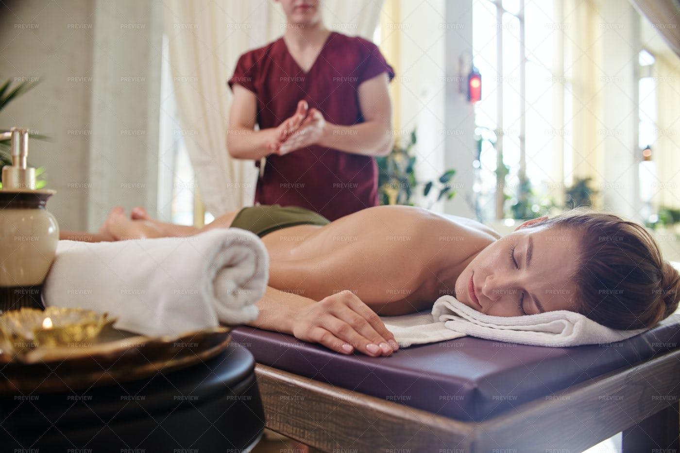 Massage In Luxury Spa Center: Stock Photos