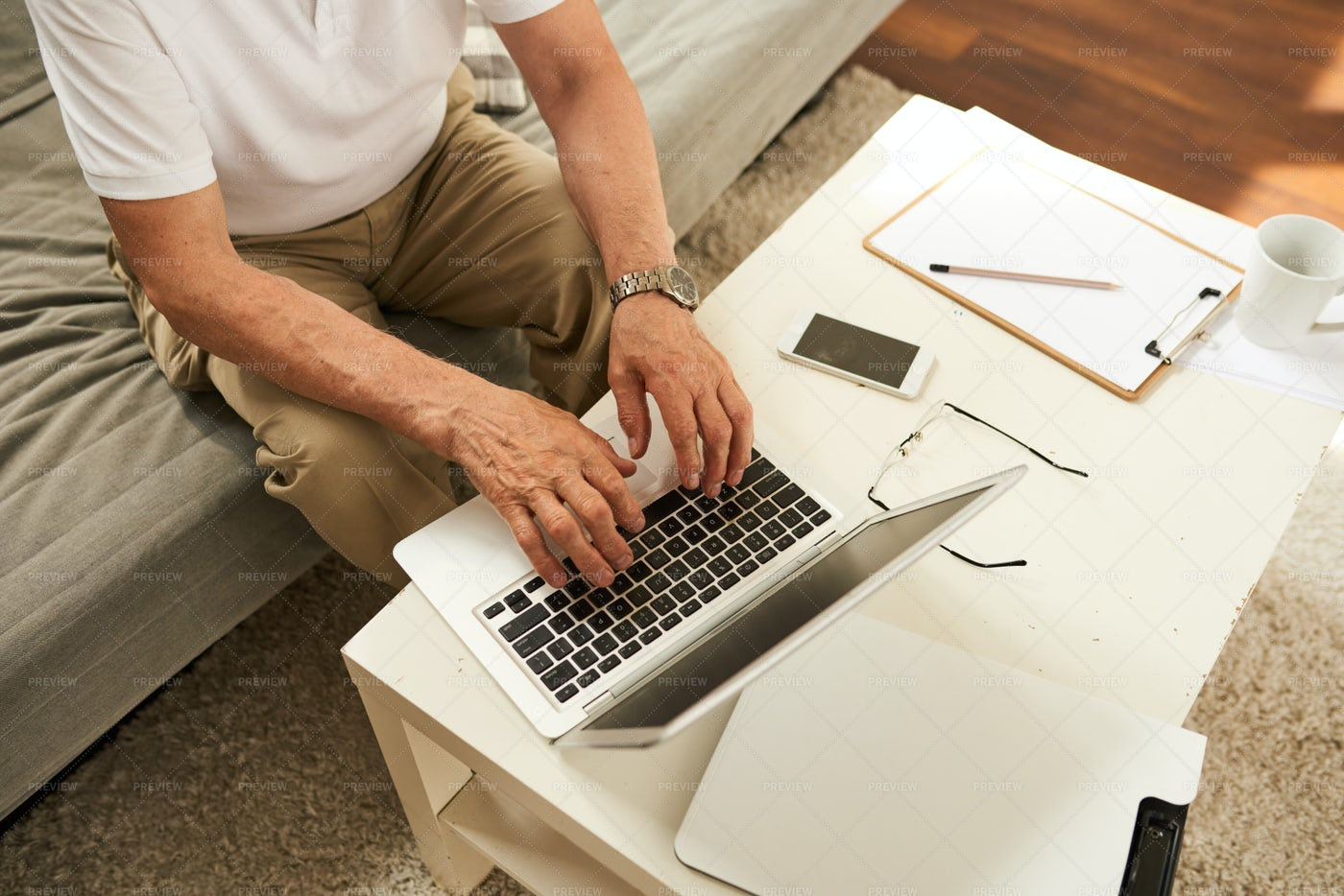 Senior Man Working From Home: Stock Photos