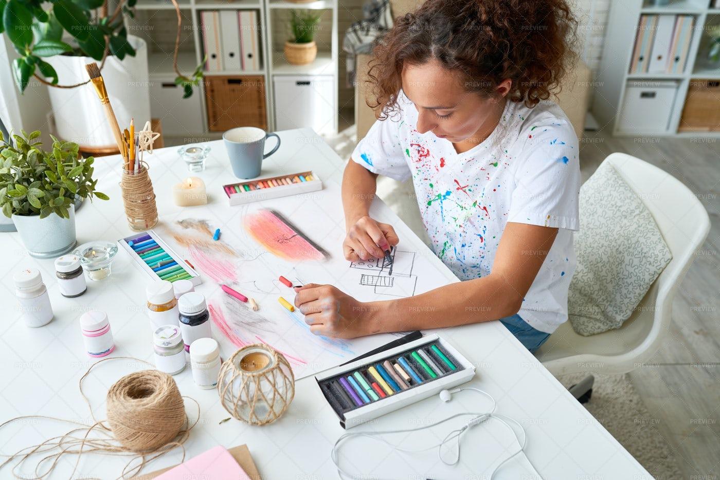 Inspired Female Artist: Stock Photos