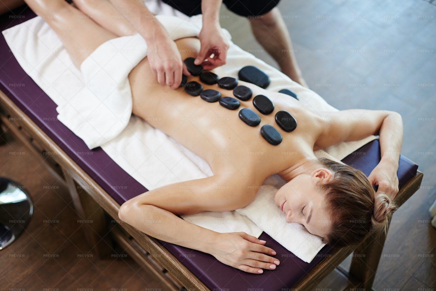 Relaxing Stone Therapy In Spa: Stock Photos