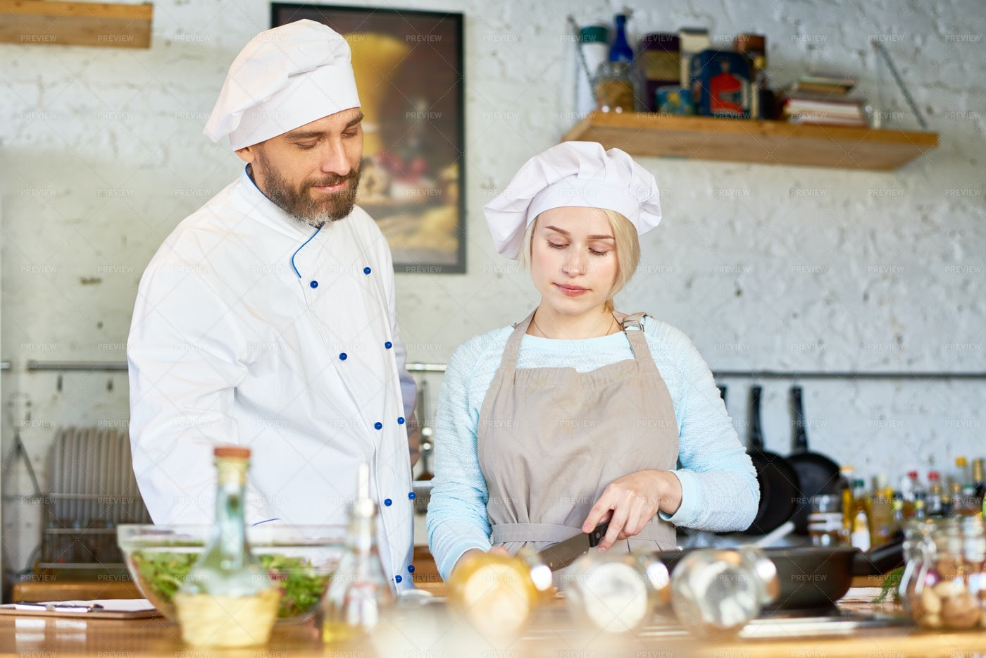 Cooking Workshop In Cafe: Stock Photos