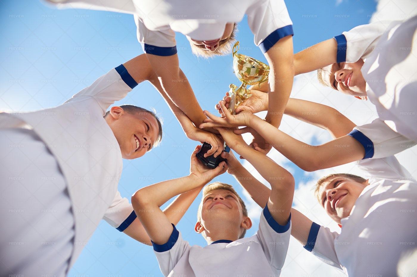Boys Winning Football Match: Stock Photos