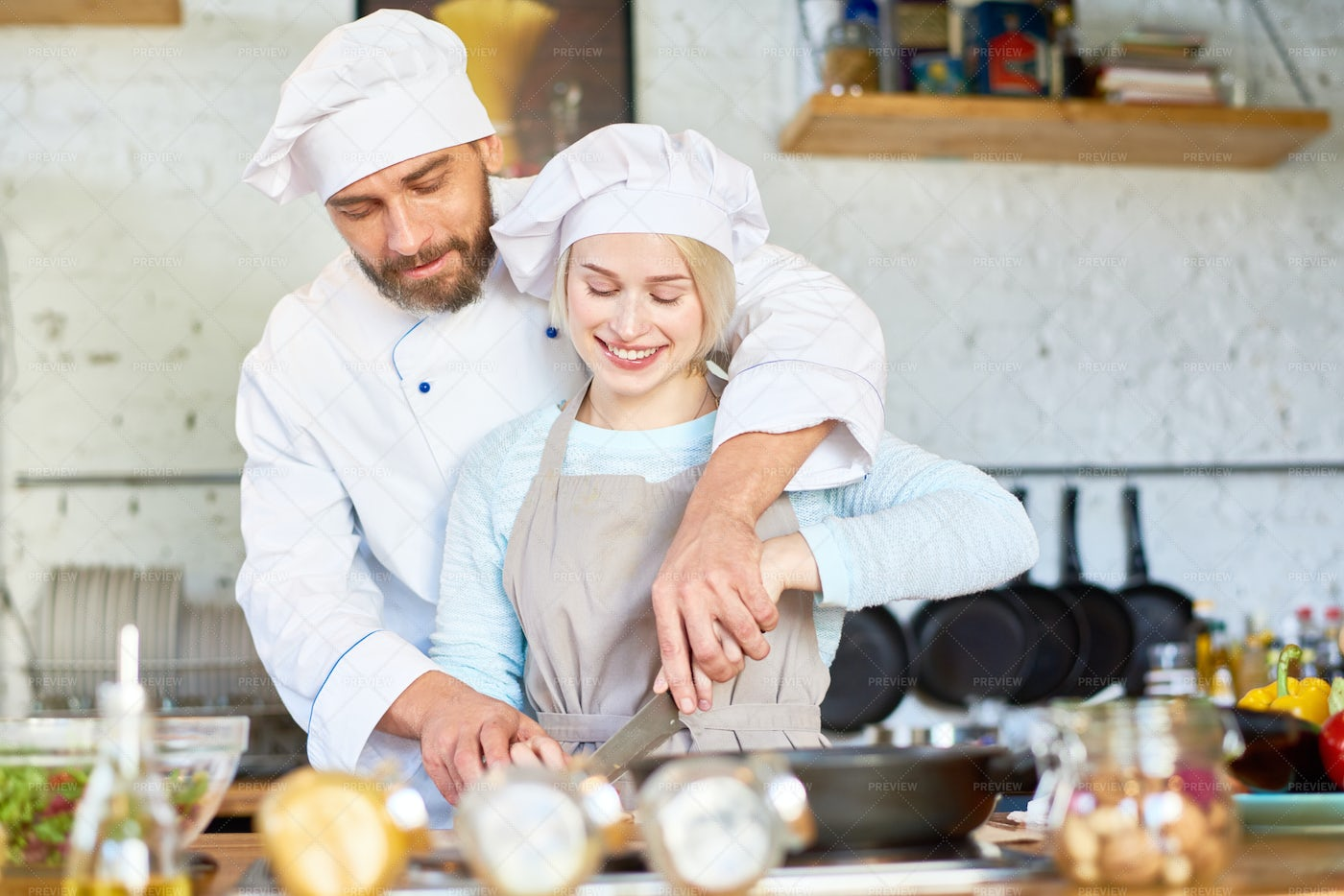 Teamwork Of Professional Chef And...: Stock Photos