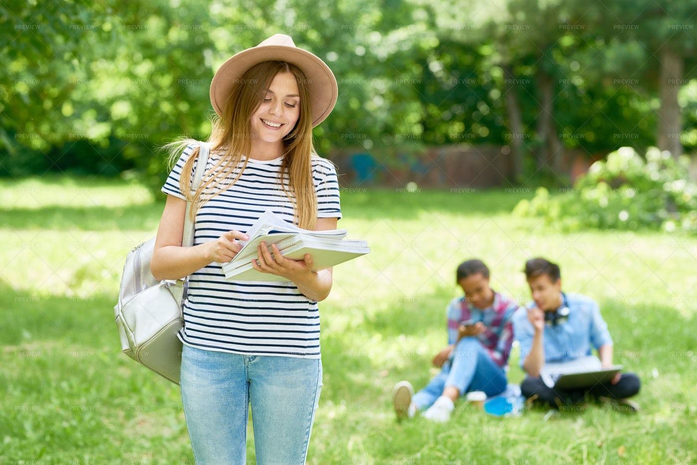 Beautiful Female Student Outdoors: Stock Photos