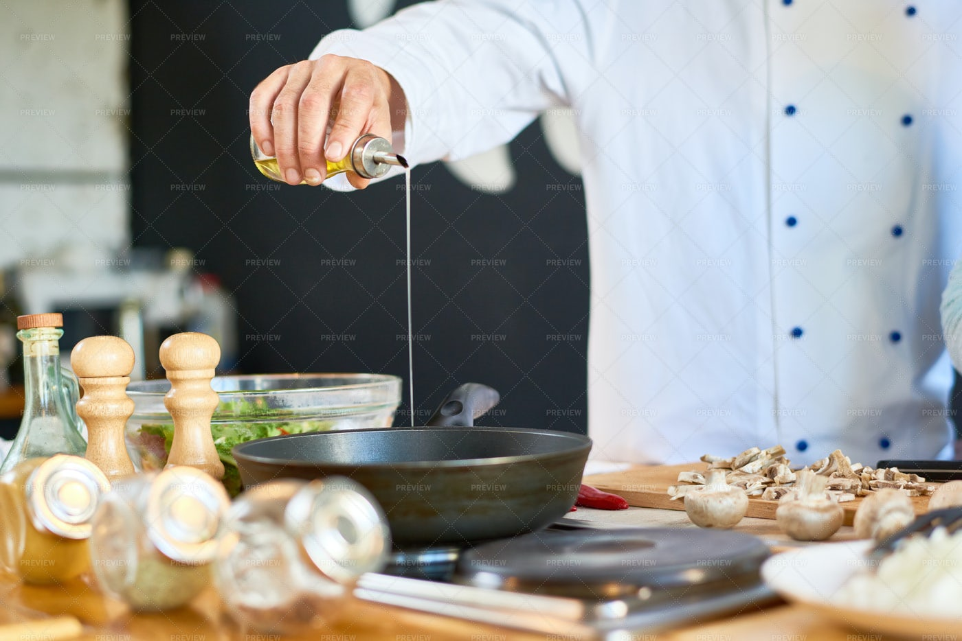Unrecognizable Chef Frying...: Stock Photos