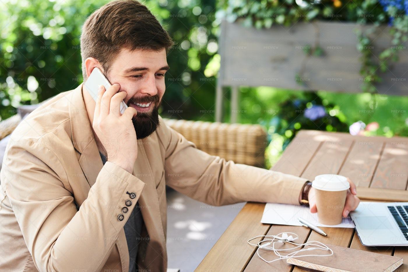 Modern Bearded Man At Coffee Break: Stock Photos