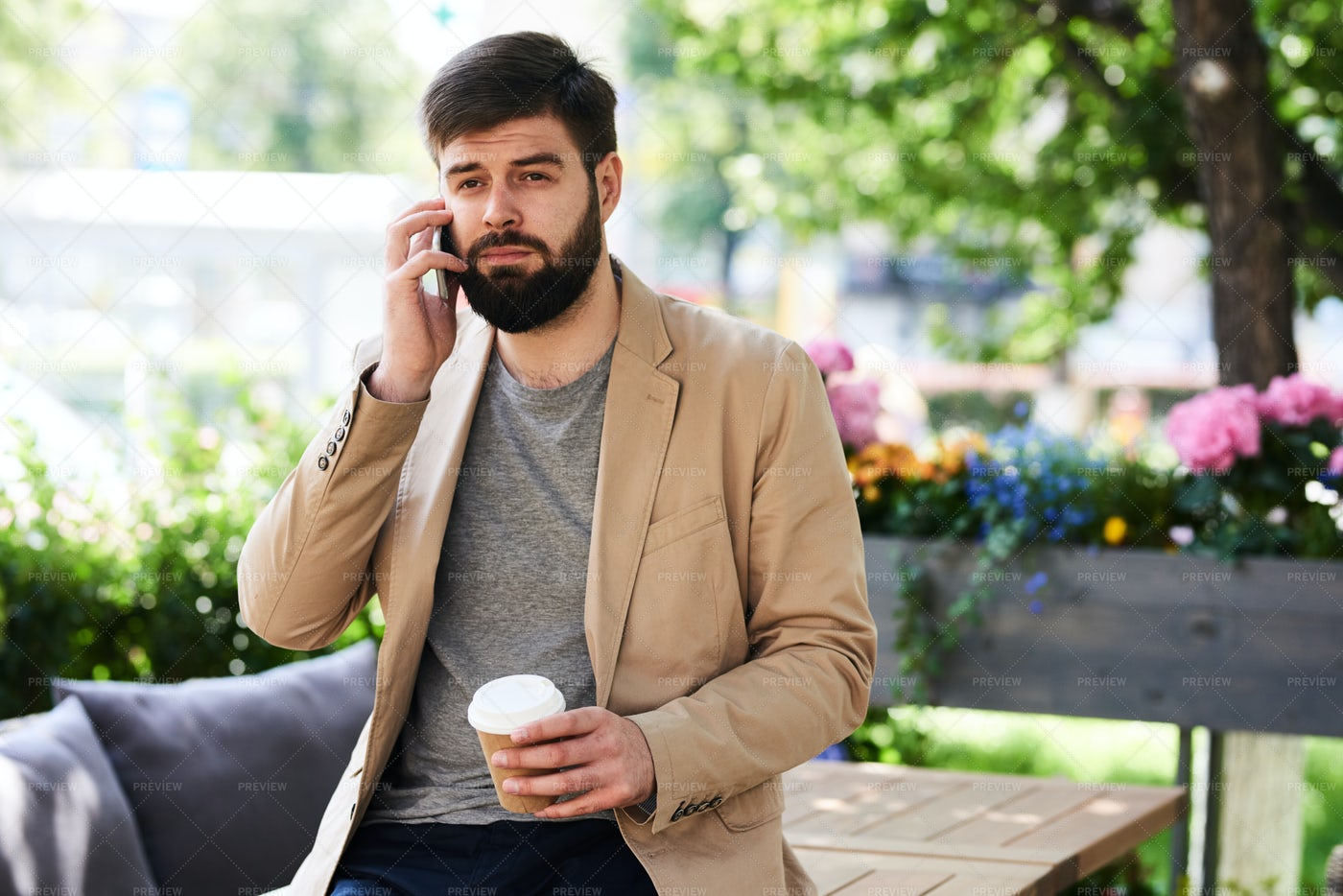 Contemporary Man Speaking By Phone...: Stock Photos