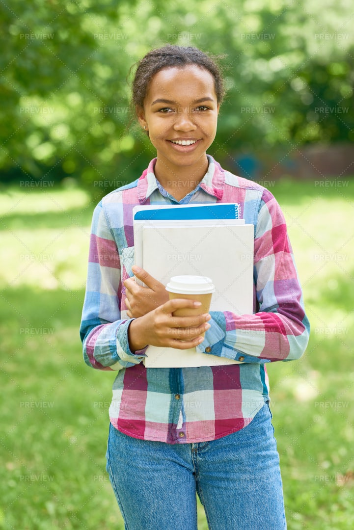 Smart African American Student Outdoors: Stock Photos