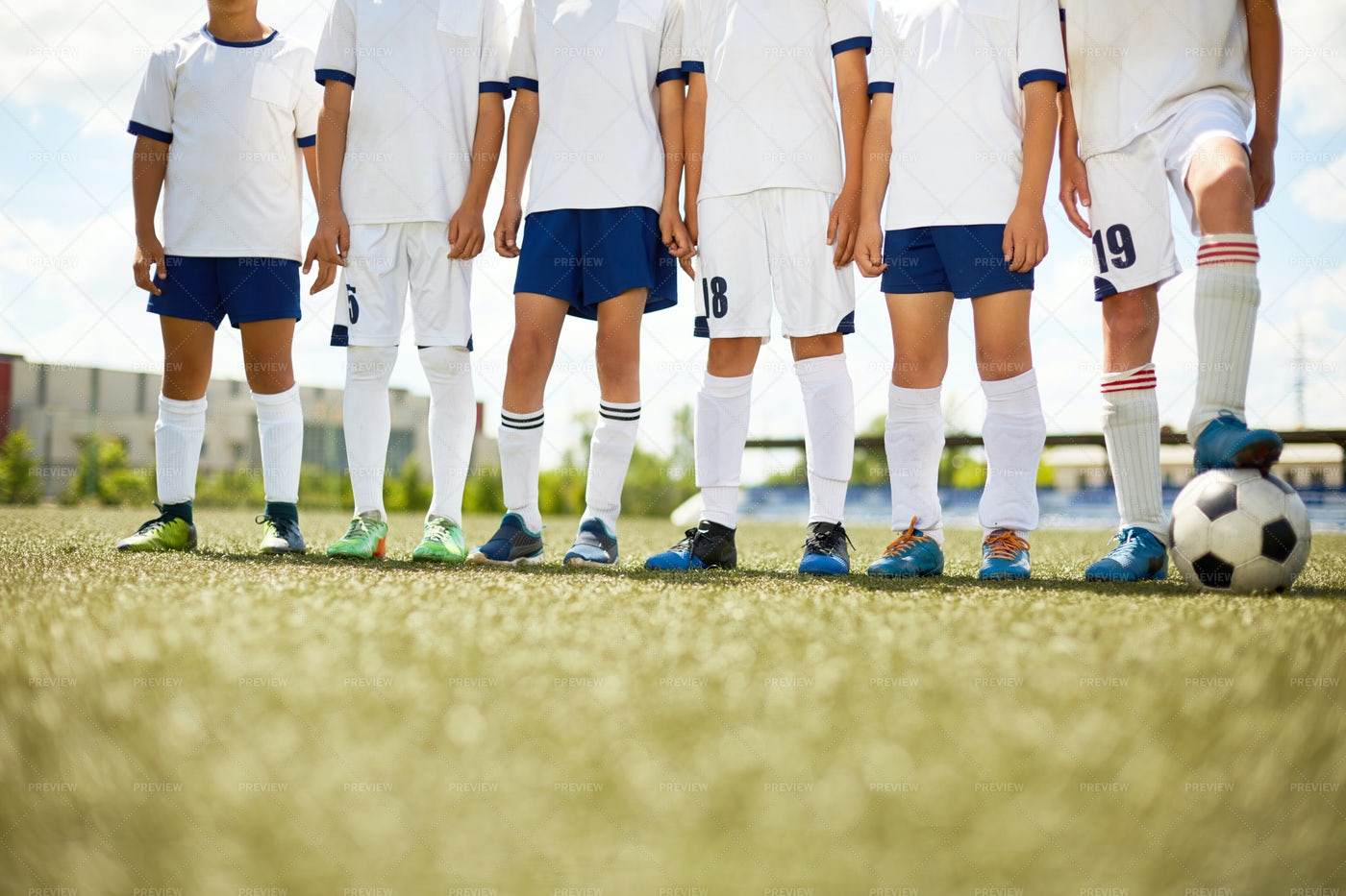 Unrecognizable Football Team In...: Stock Photos