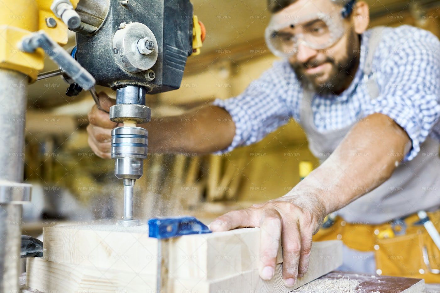 Carpenter Working With Machines: Stock Photos