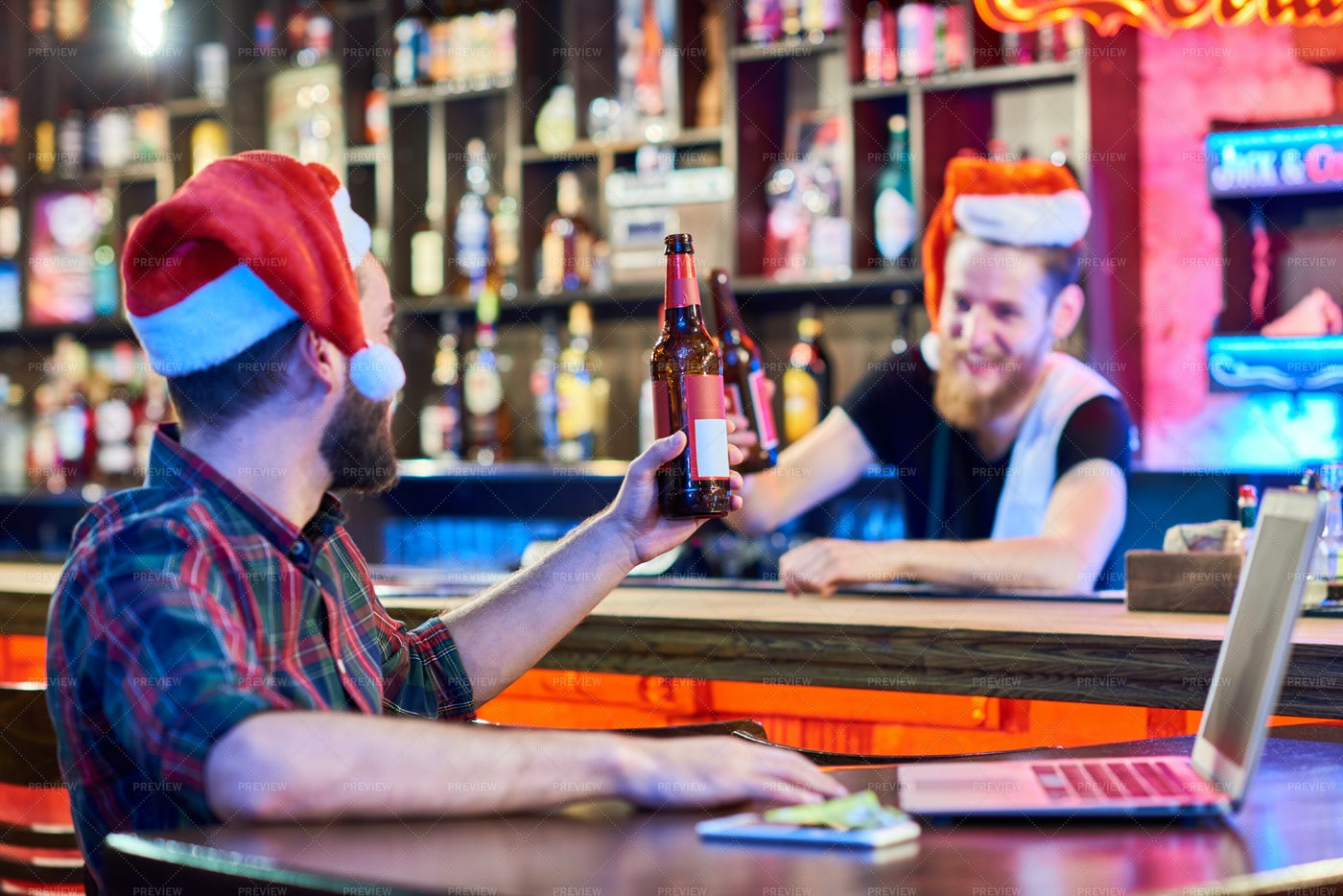 Christmas Party In Pub: Stock Photos