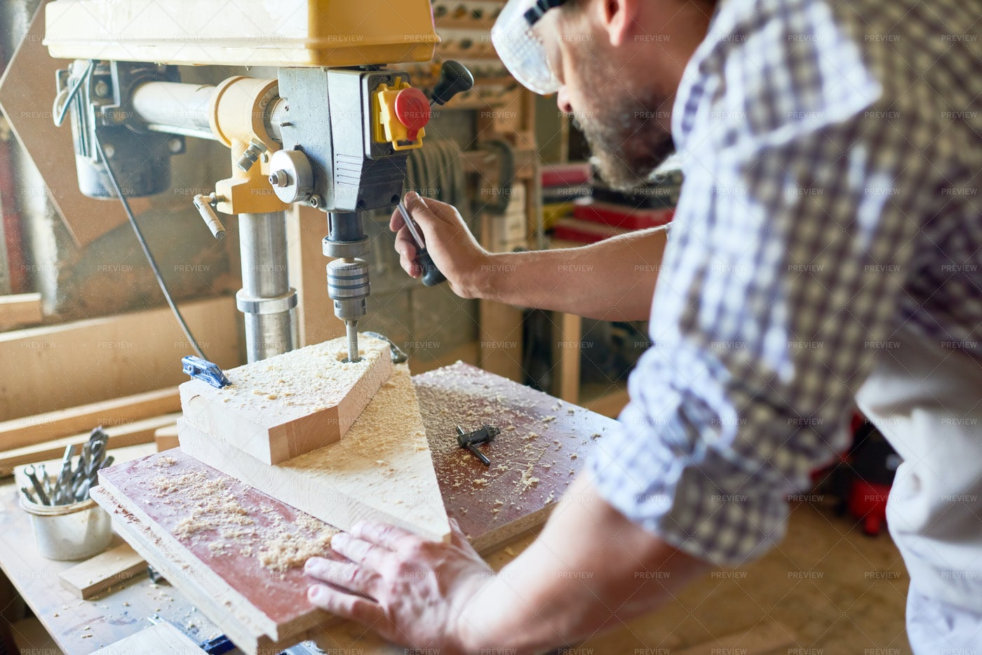 Mature Carpenter Working In Joinery: Stock Photos