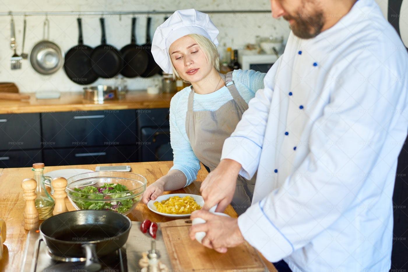 Bearded Chef Grinding Peppercorns: Stock Photos