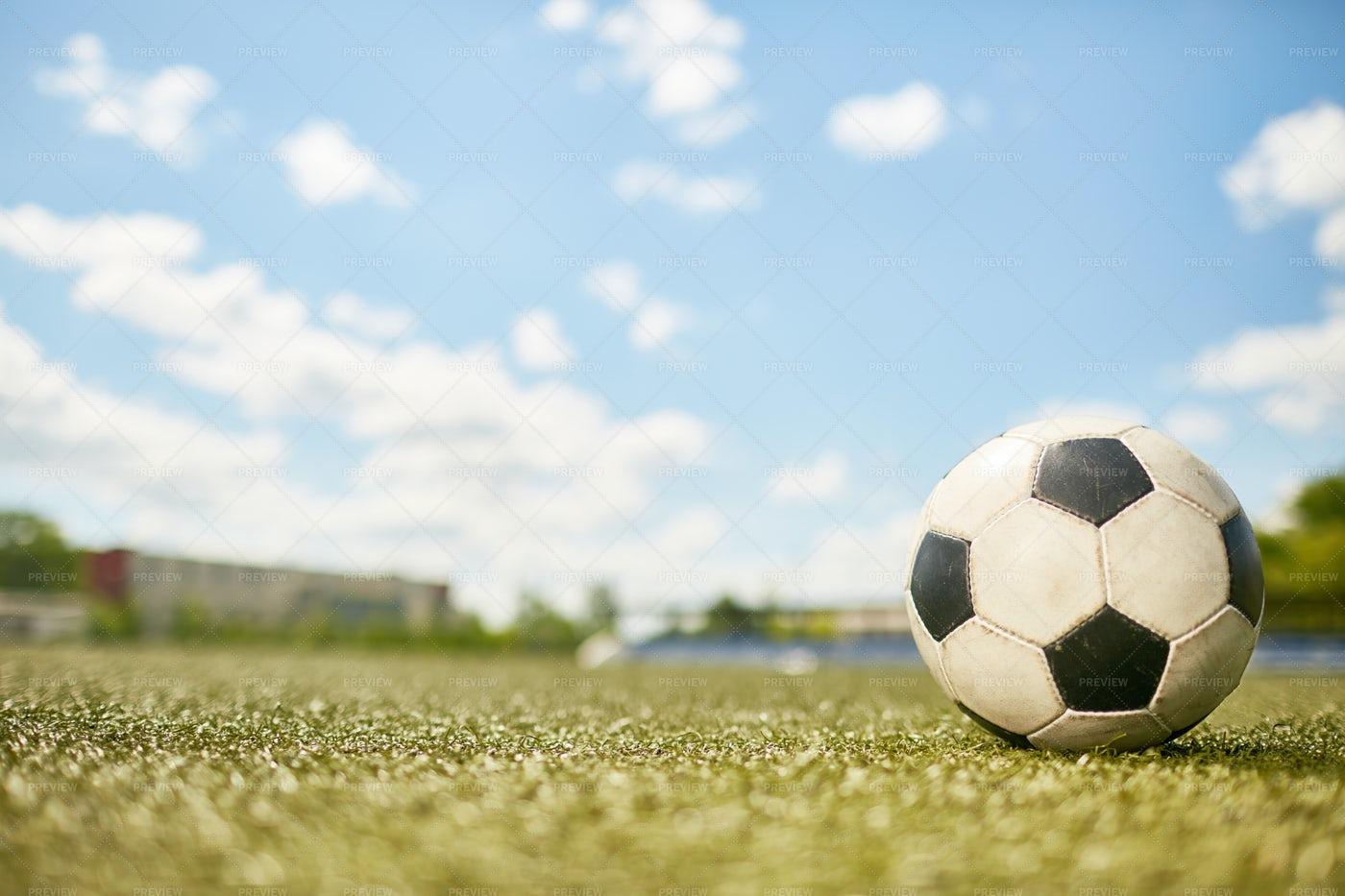 Football Ball On Field: Stock Photos