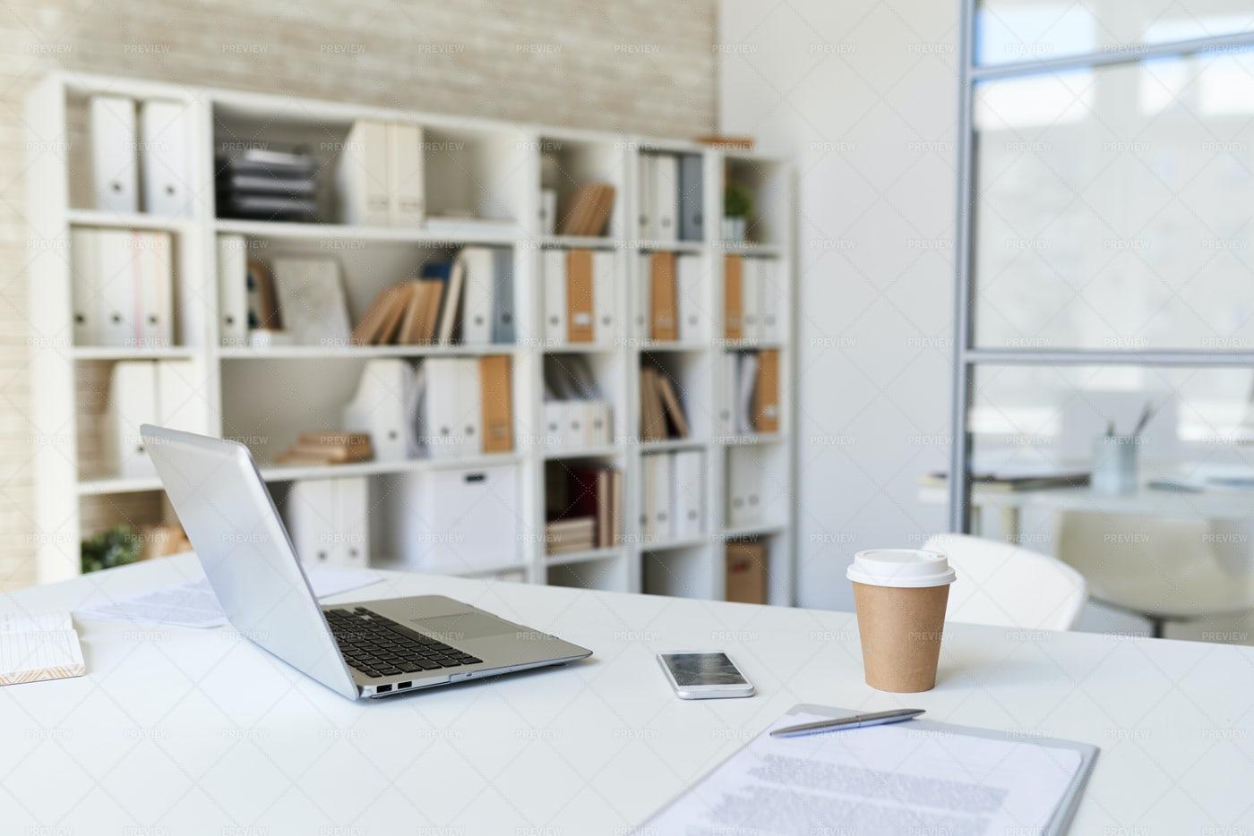 Laptop On Desk In Modern Office: Stock Photos