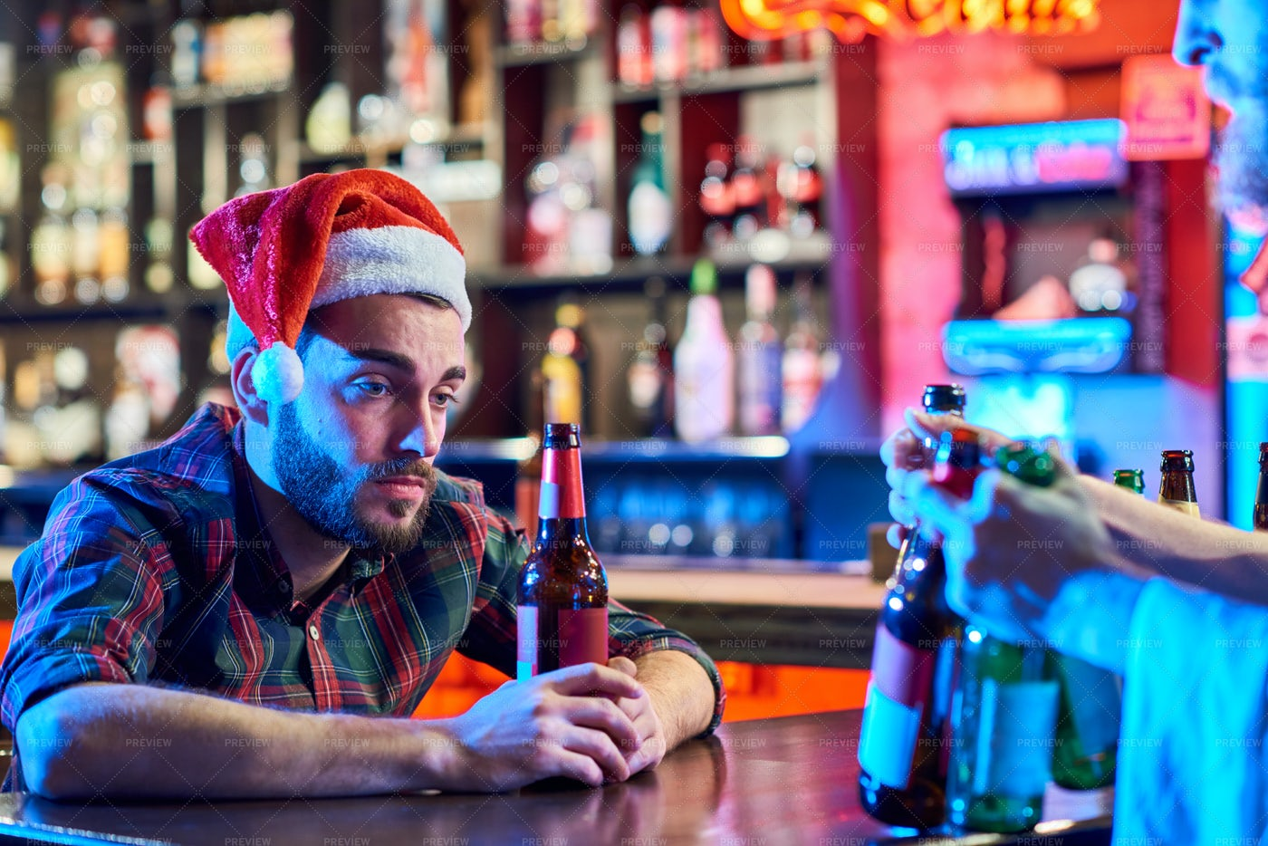 Drunk Man Alone On Christmas: Stock Photos