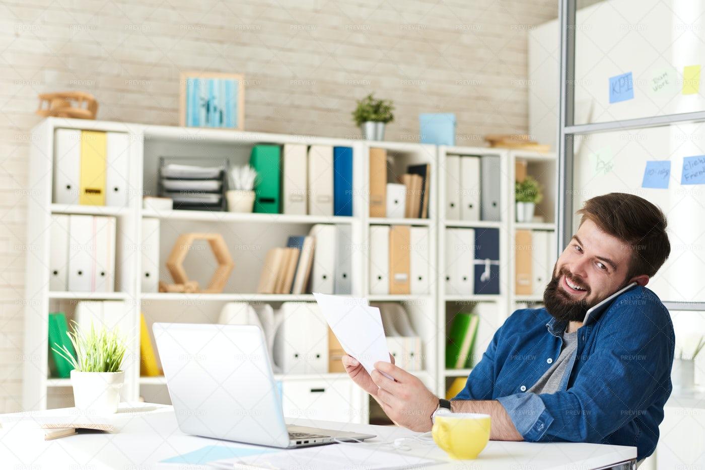 Happy Businessman Working In Modern...: Stock Photos