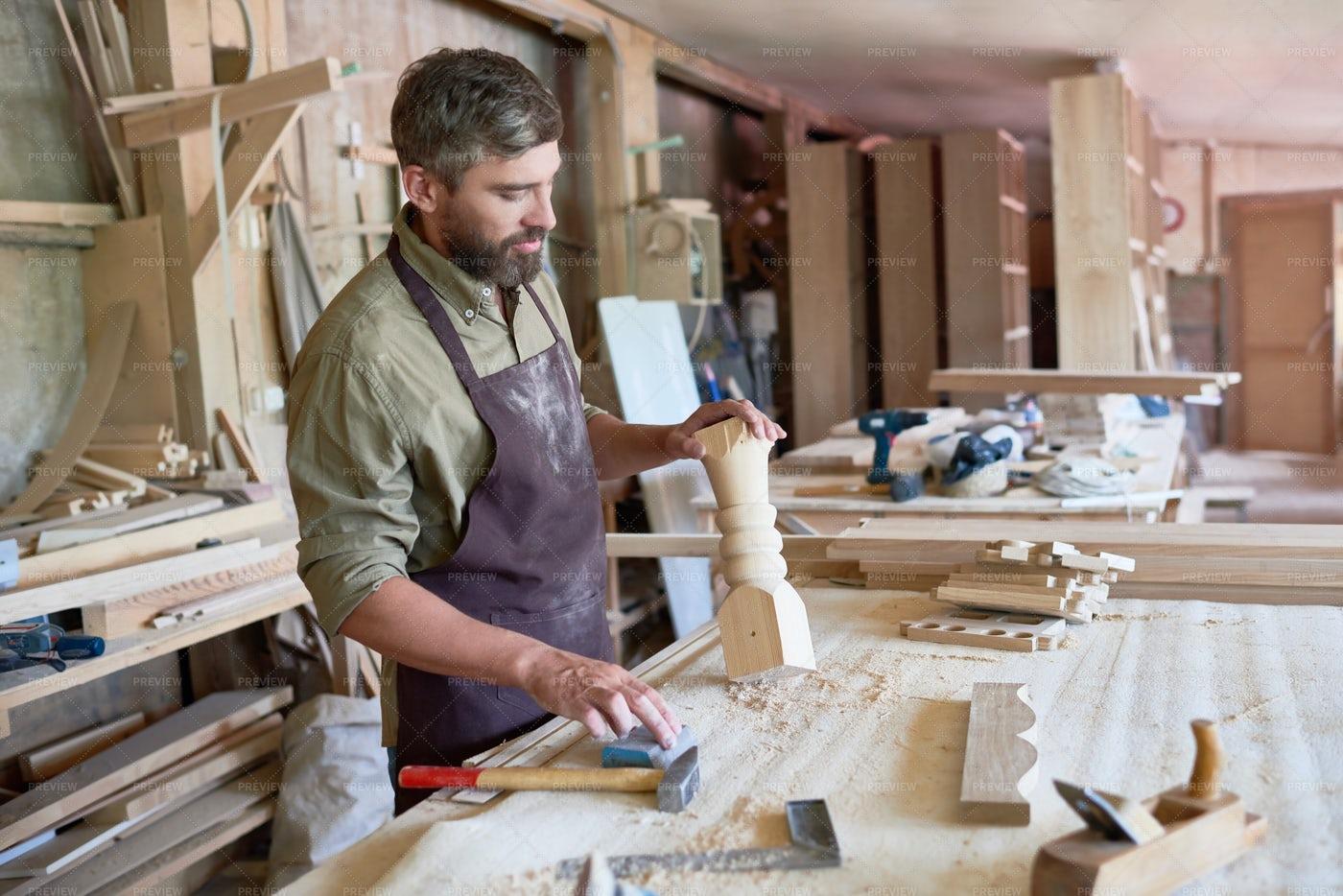 Bearded Carpenter Making Stair...: Stock Photos