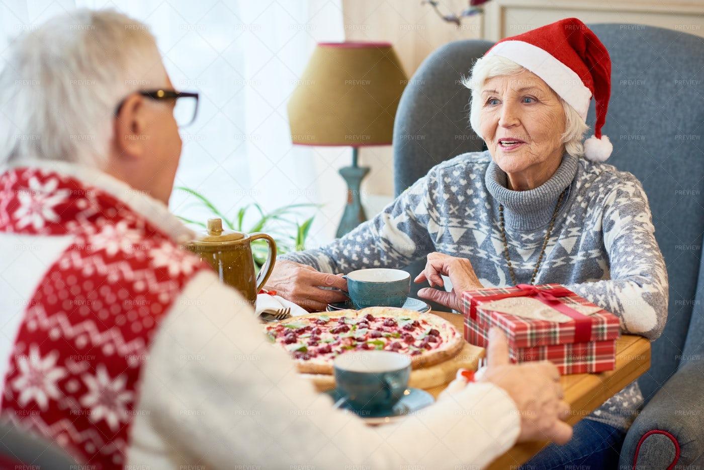 Happy Senior Couple Dining On...: Stock Photos