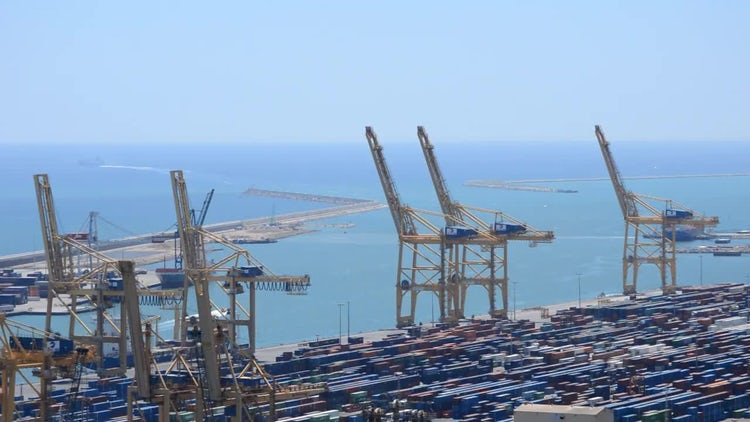 Industrial Port Cranes: Stock Video