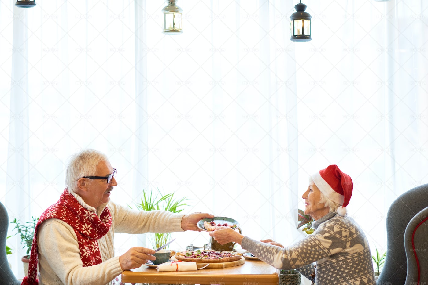 Senior Couple Dining Together On...: Stock Photos