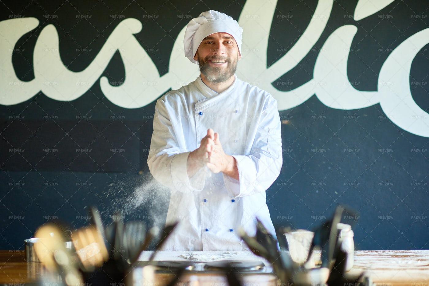 Portrait Of Cheerful Bearded Chef: Stock Photos