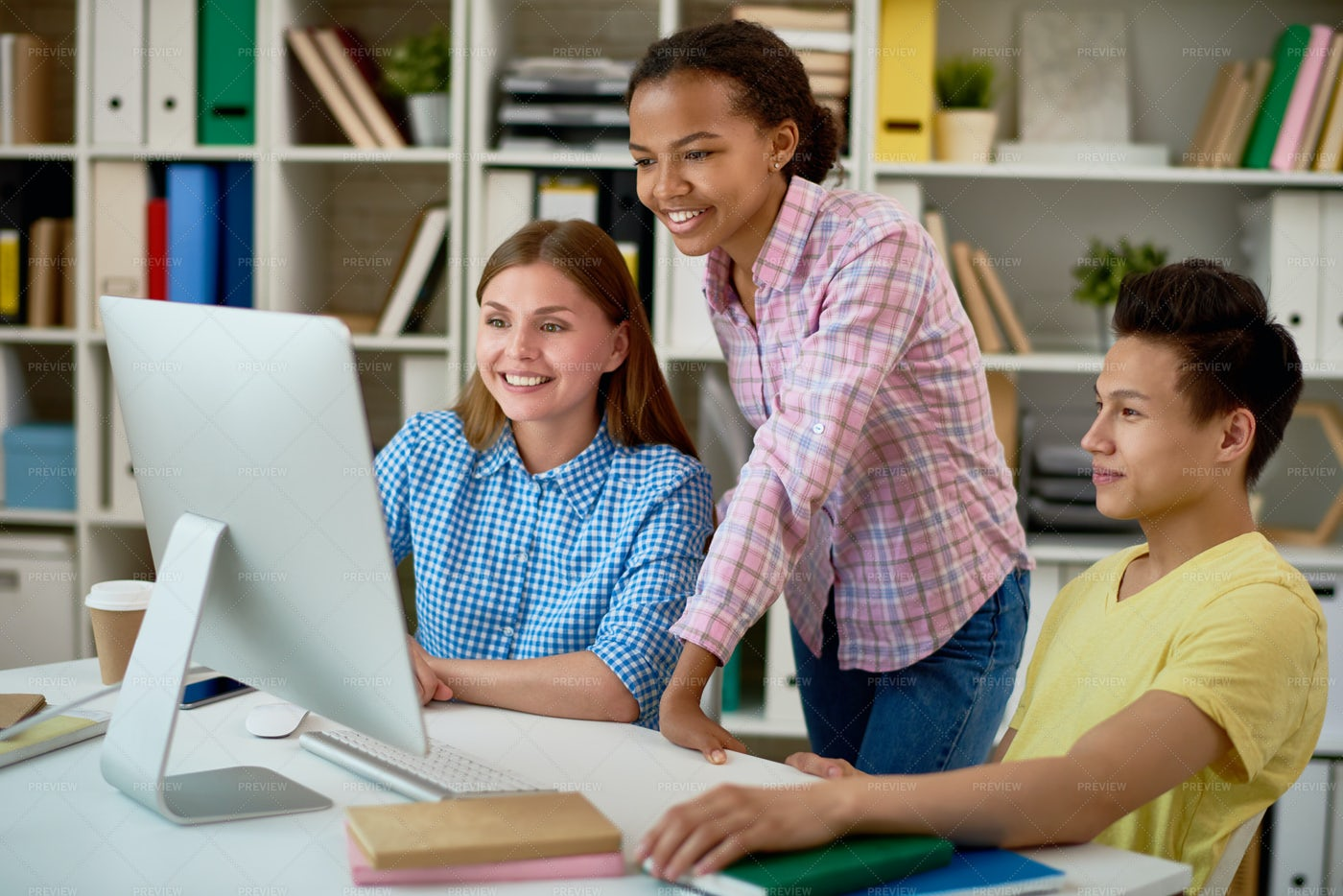 Group Of Students Working With...: Stock Photos