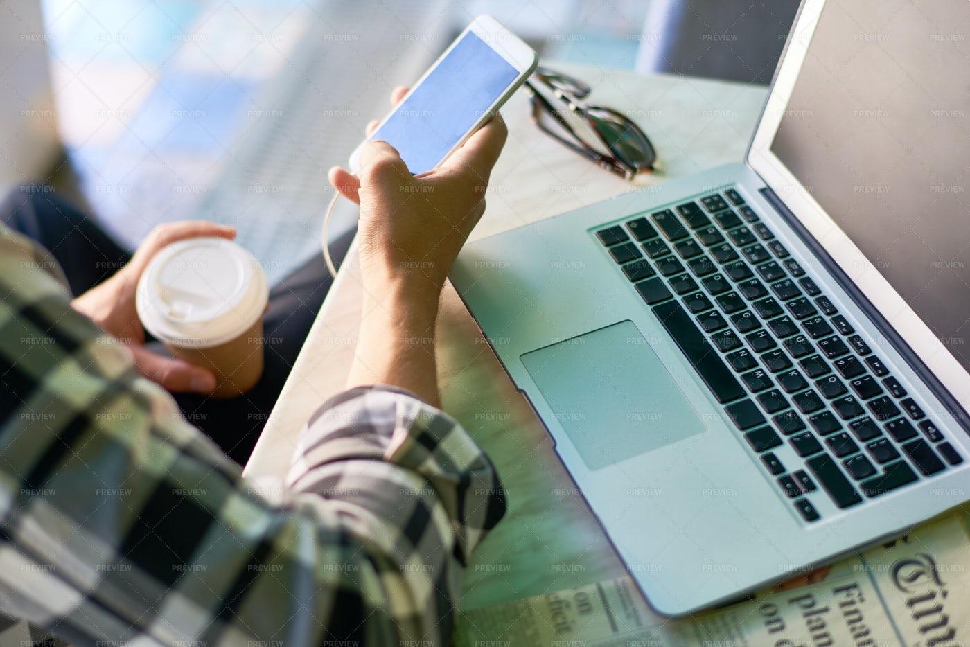 Gen Z Man Using Smartphone: Stock Photos