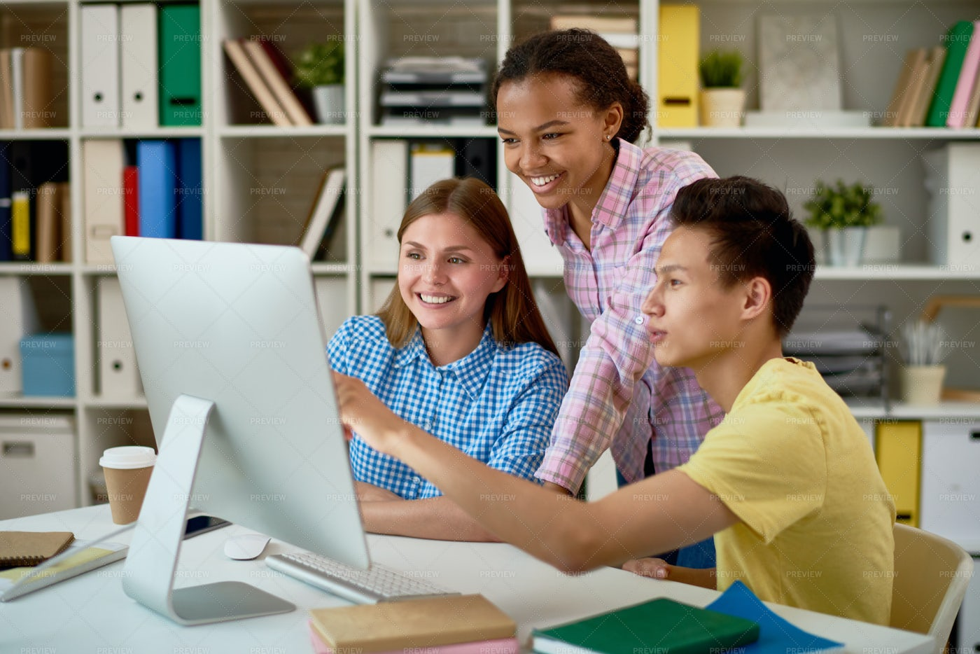 Smiling Students Working With...: Stock Photos