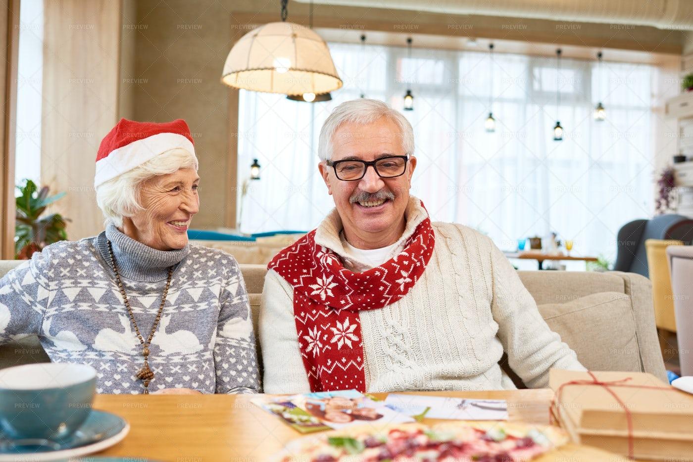 Happy Senior Couple Celebrating...: Stock Photos