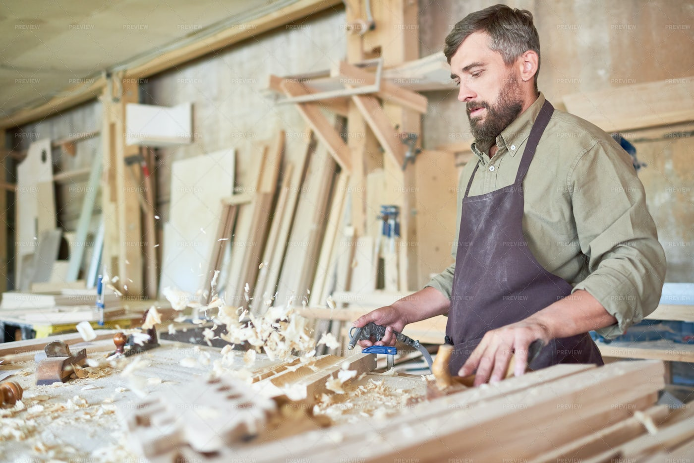 Craftsman In Joinery Shop: Stock Photos