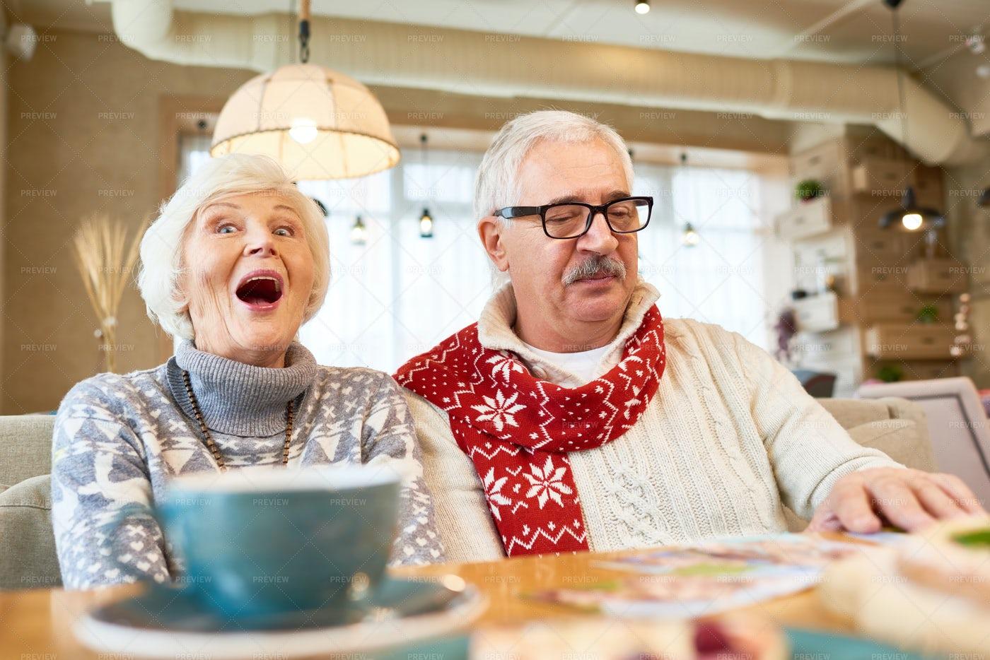 Portrait Of Senior Couple In Cafe: Stock Photos