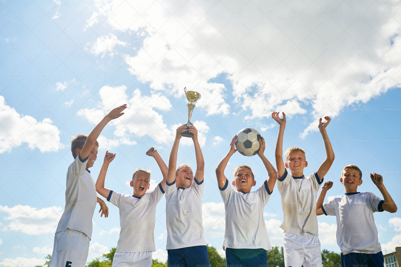 Boys Winning Football: Stock Photos