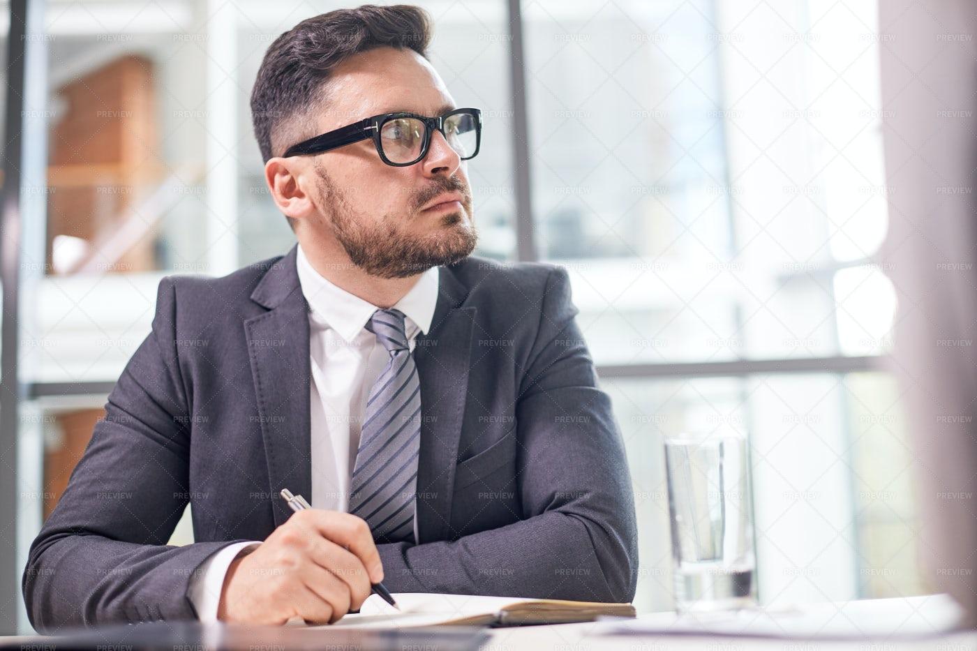 Portrait Of Pensive Entrepreneur: Stock Photos