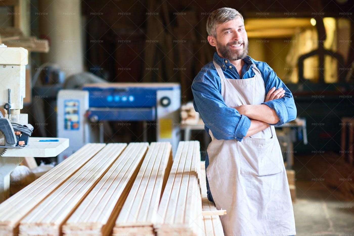 Successful Carpenter Posing In...: Stock Photos