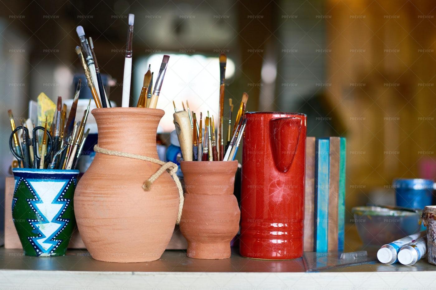 Art Supplies In Pottery Studio: Stock Photos