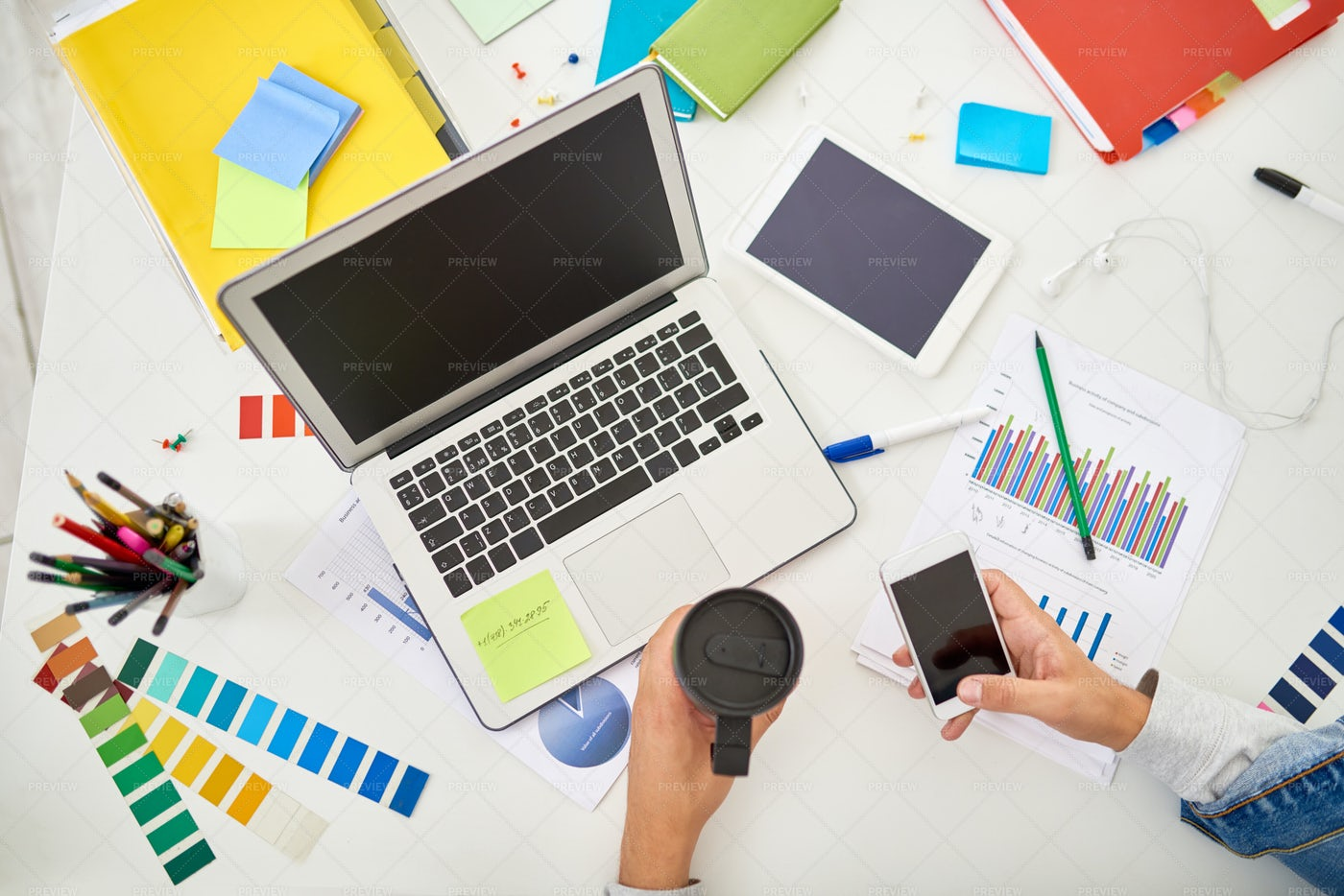 Above View Of Creative Workplace: Stock Photos