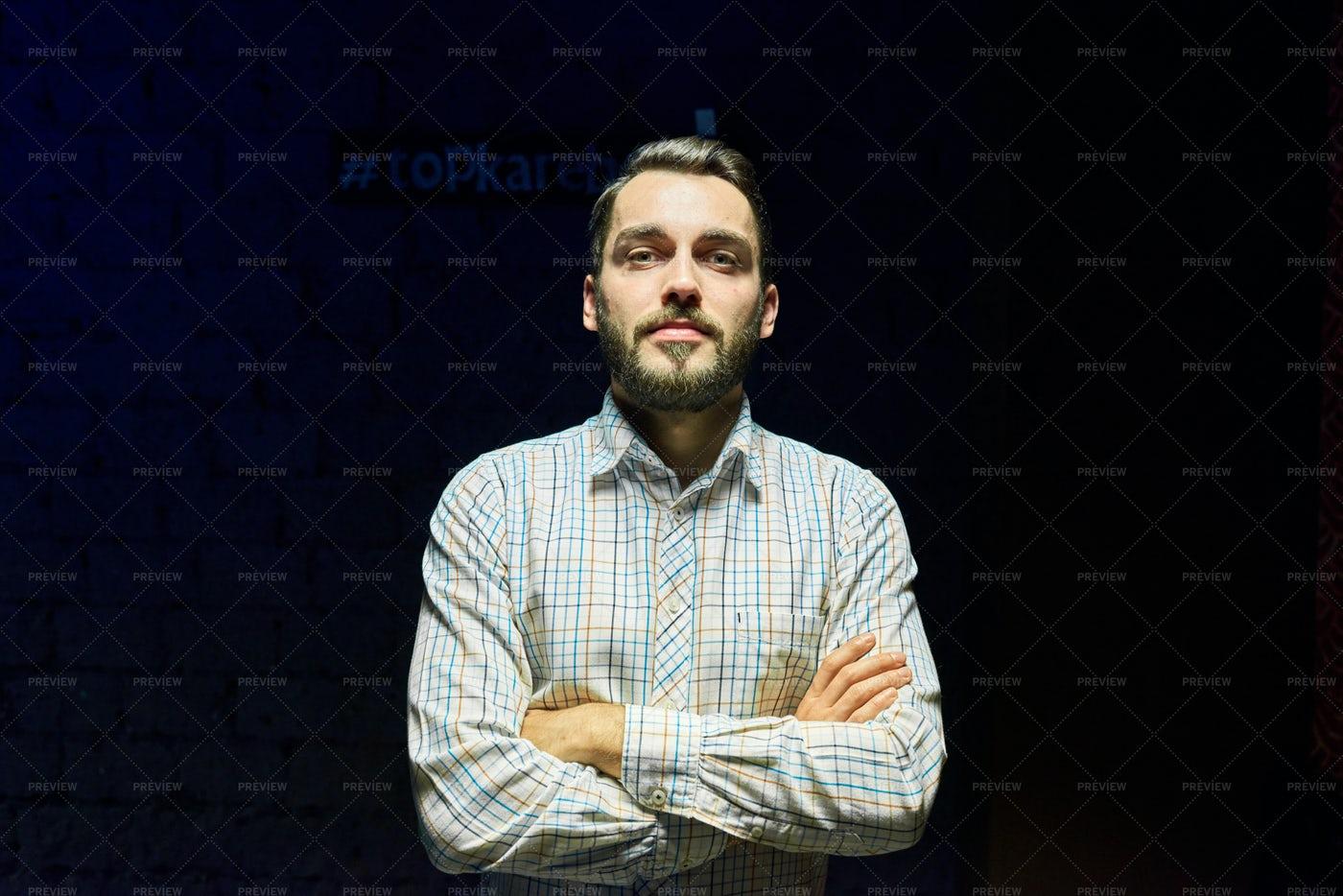 Contemporary Young Man In The Dark: Stock Photos