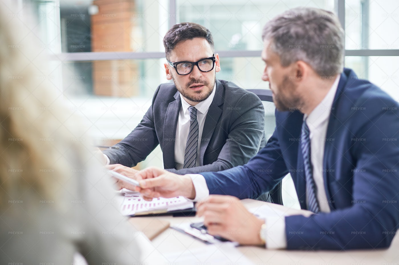 Negotiations Of Bearded Business...: Stock Photos