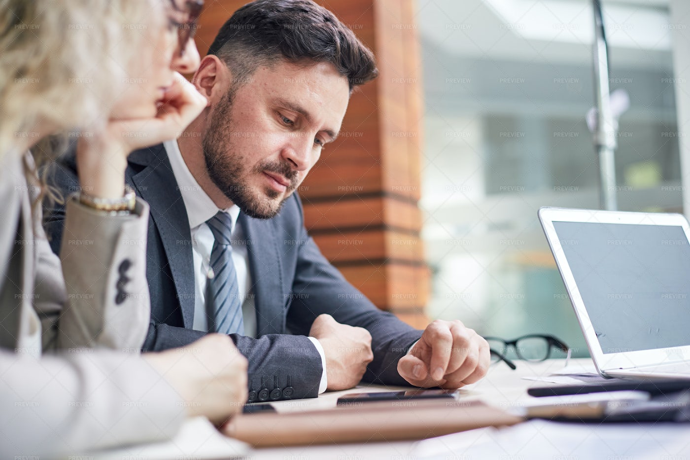 Middle-Aged Colleagues Using...: Stock Photos