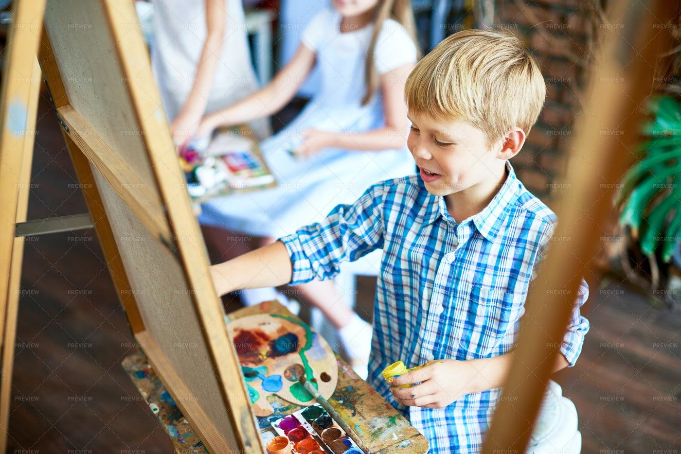 Little Boy Enjoying Art Class: Stock Photos
