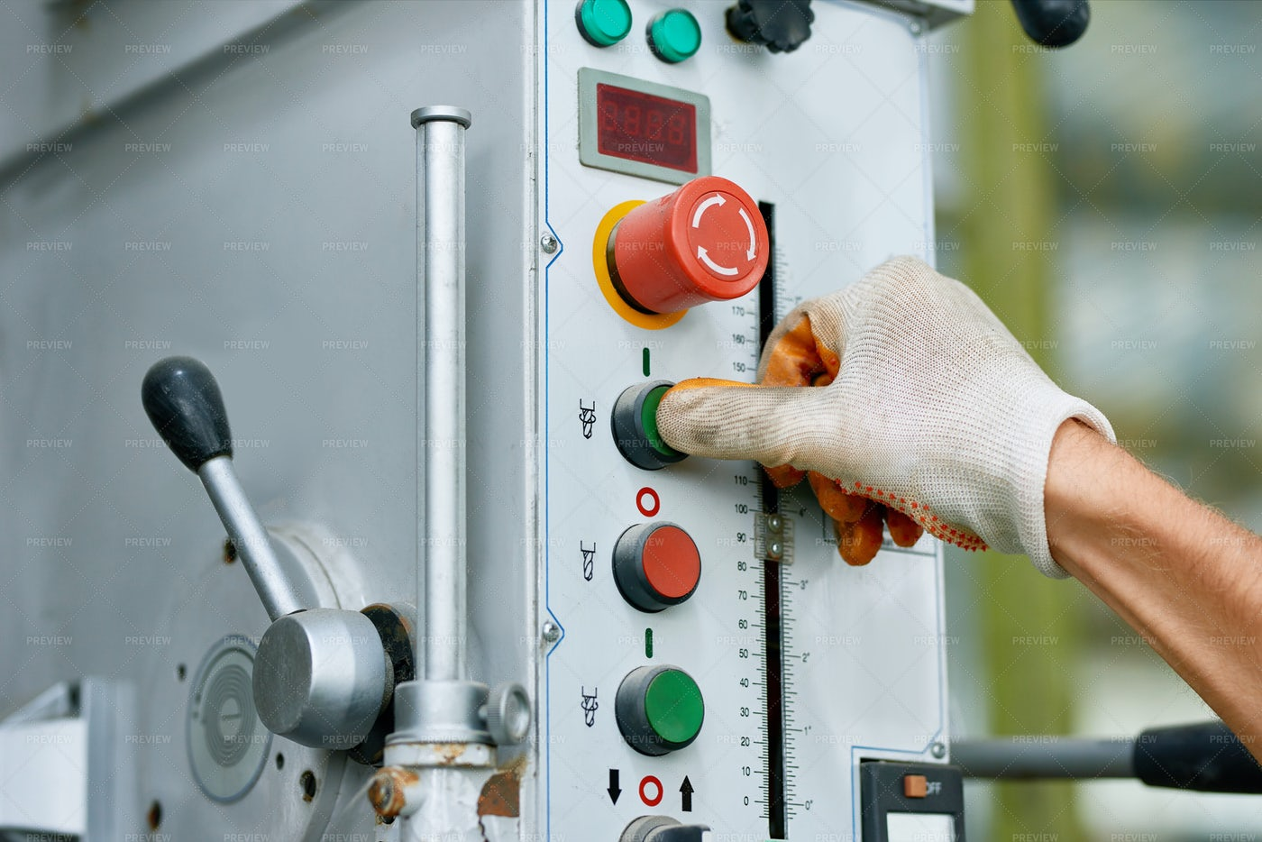 Machine Control Panel At Factory: Stock Photos