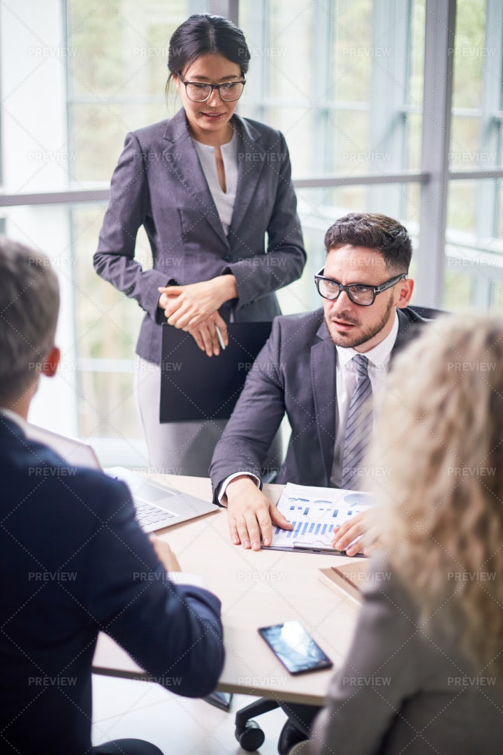Working Process At Boardroom: Stock Photos