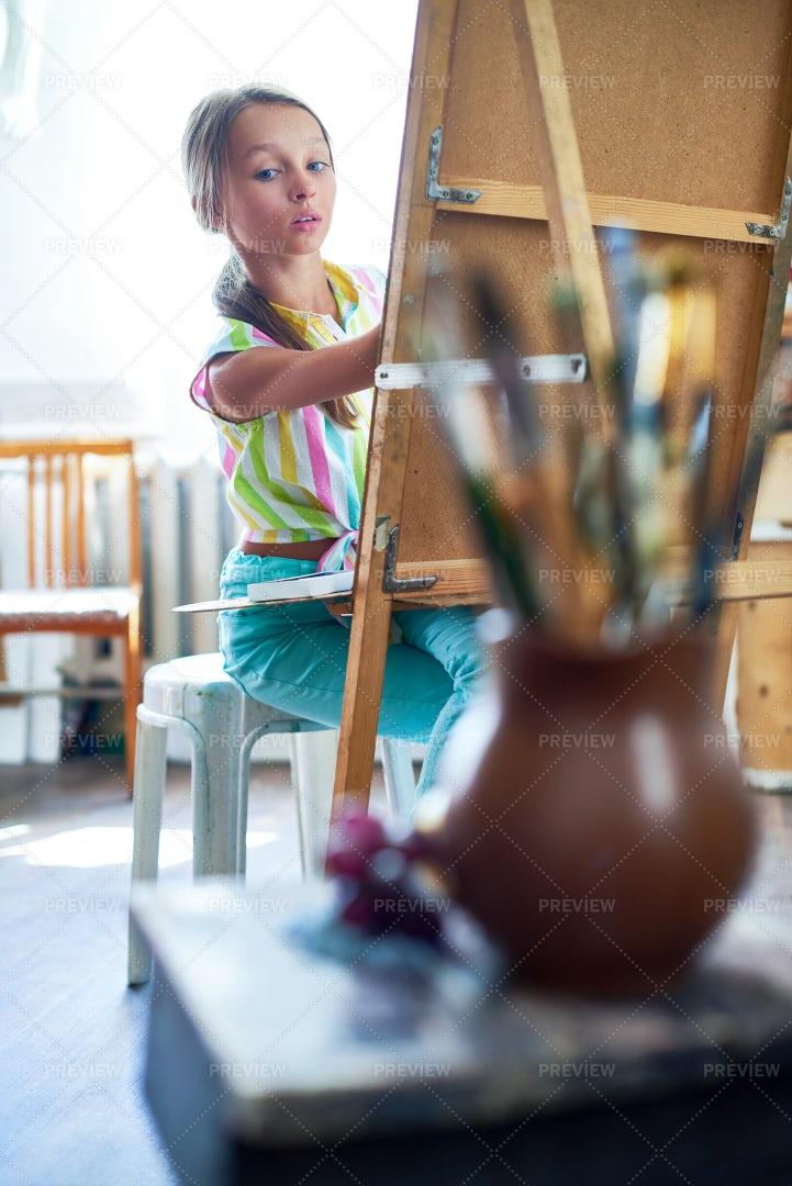 Little Girl Studying In Art Class: Stock Photos