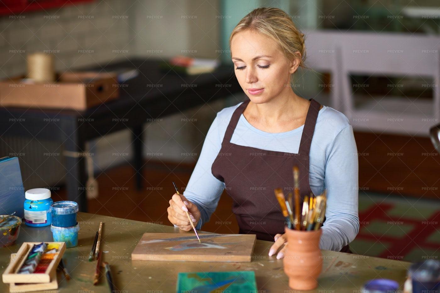 Beautiful Woman Painting In Art...: Stock Photos
