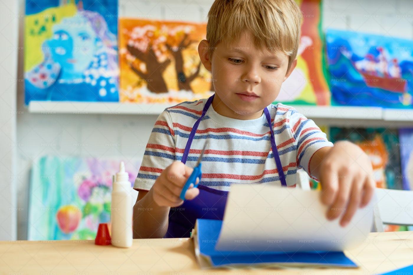 Little Boy In Craft Class: Stock Photos