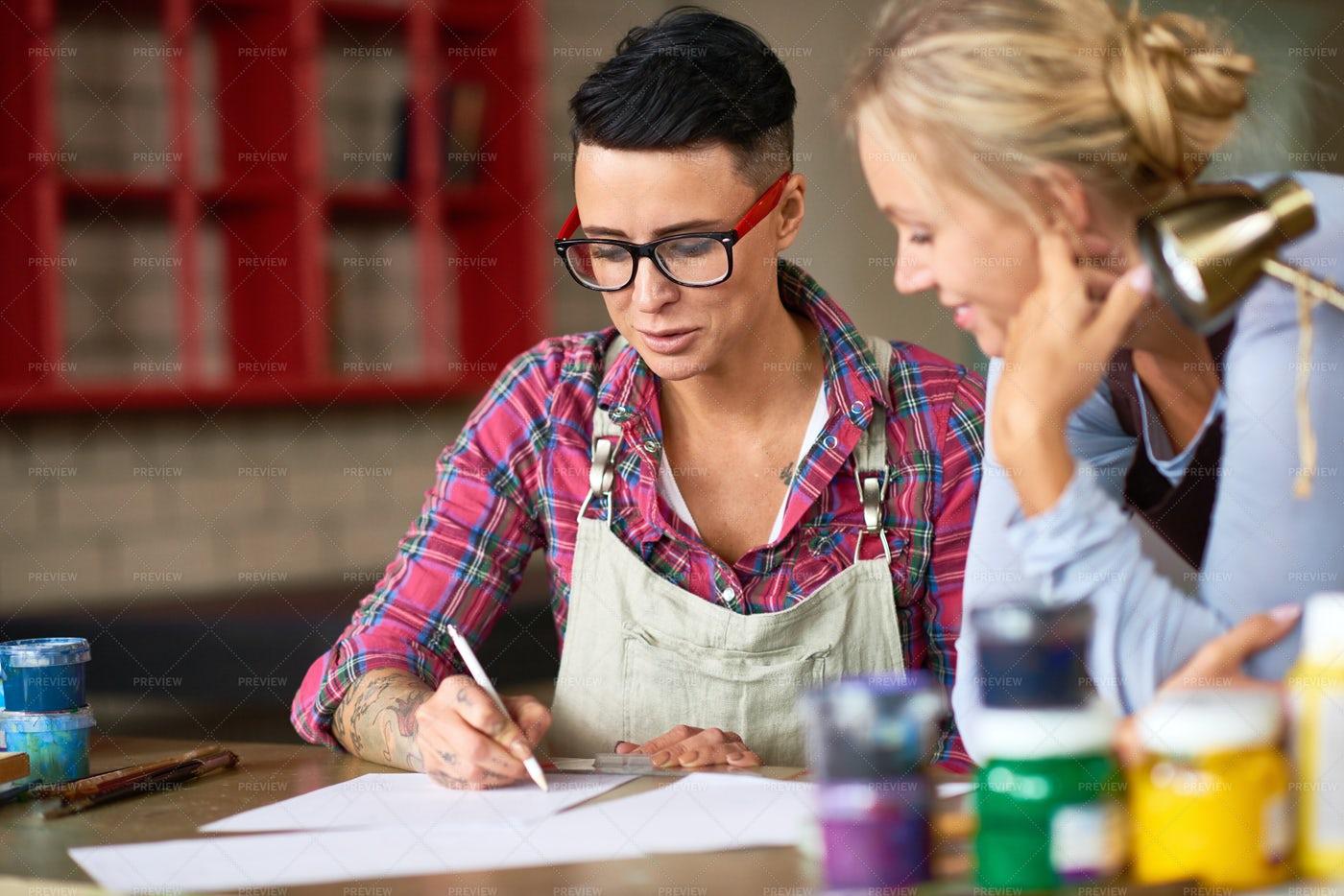Two Creative Women Working On Art...: Stock Photos