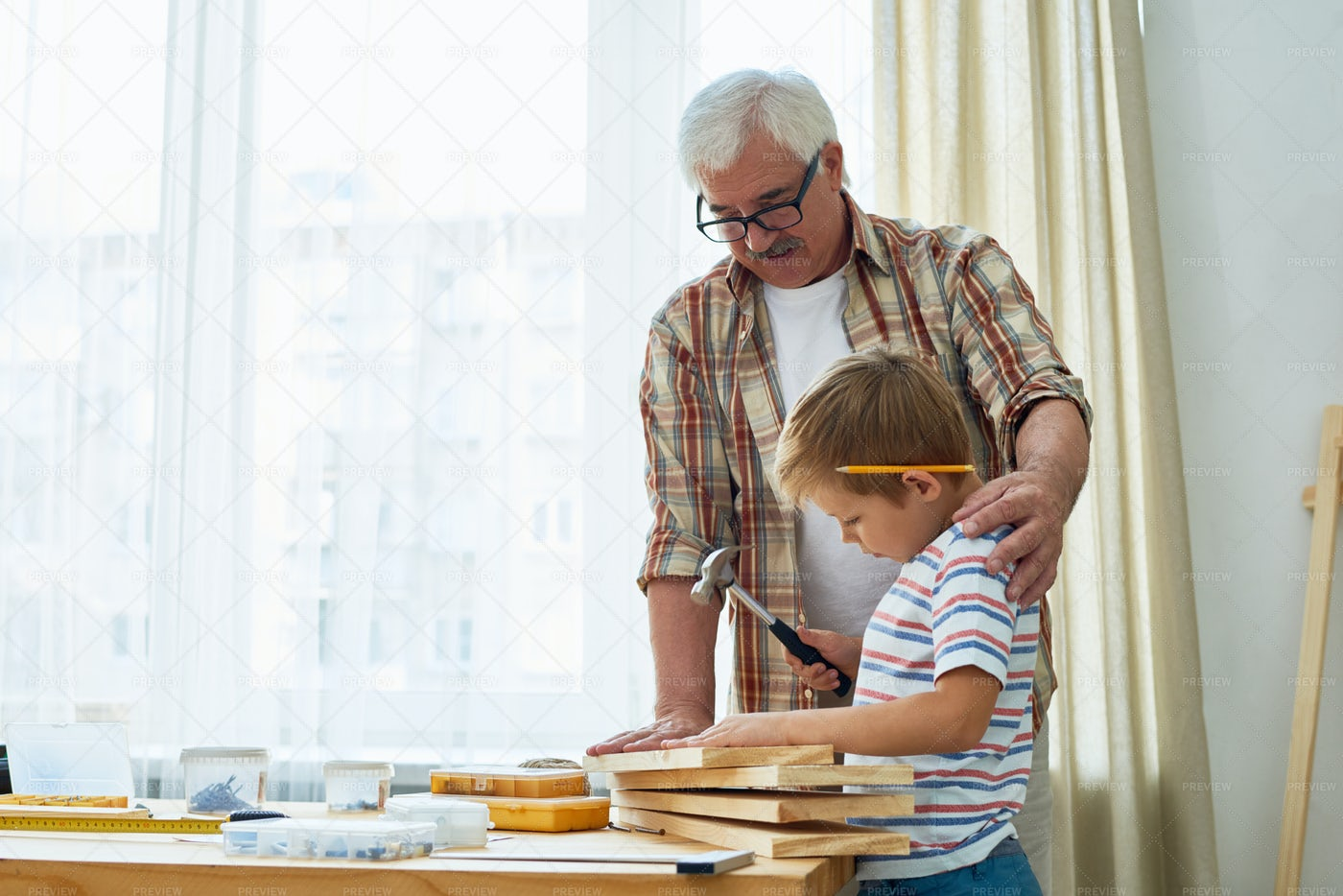 Loving Grandfather And Little Boy...: Stock Photos