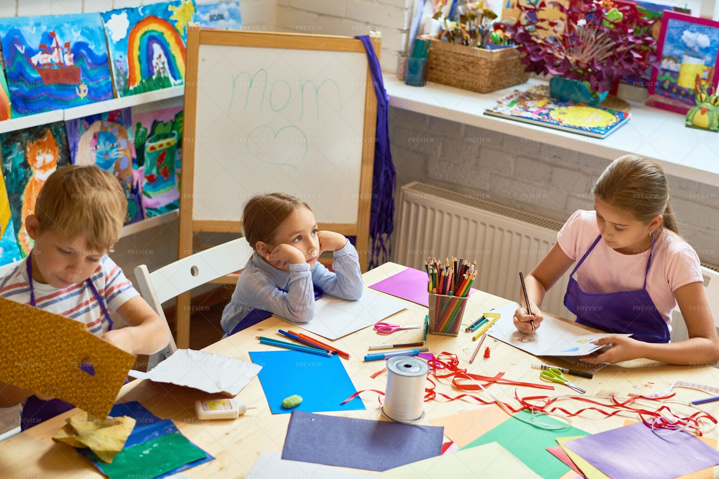 Children Making Gift Cards  On...: Stock Photos